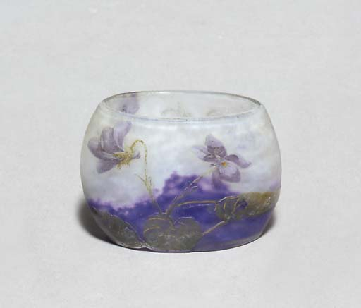 AN ETCHED AND ENAMELED GLASS C