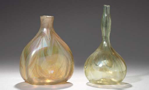 TWO DECORATED FAVRILE GLASS VA