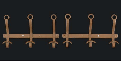 A PAIR OF LEATHER COAT HOOKS