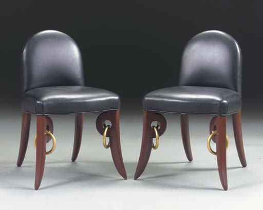 A PAIR OF PADOUK, LEATHER AND