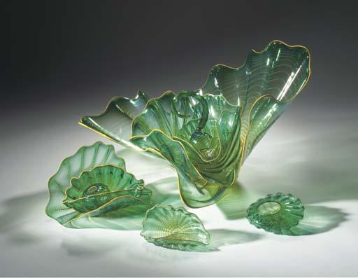A TEN-PIECE GREEN GLASS SEAFOR