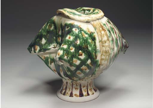 'PILLOW JAR', A GLAZED CERAMIC