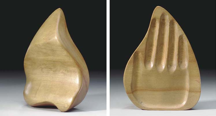 A TURNED AND CARVED WOOD 'HAND
