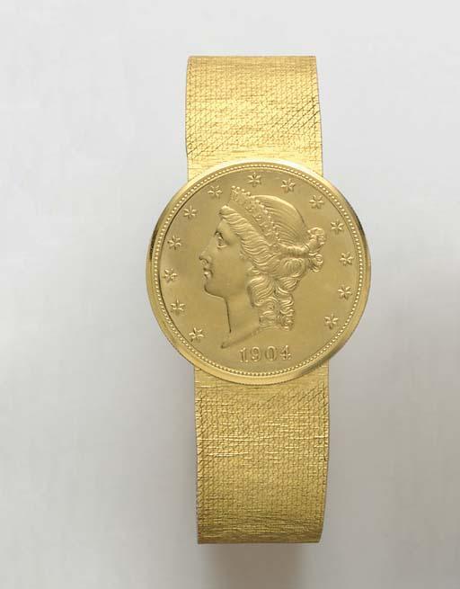 AN 18K GOLD COIN WRISTWATCH, B