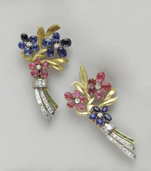 A PAIR OF GEM-SET AND MULTI-CO