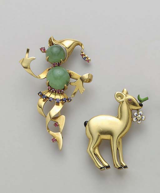 FIVE GEM-SET, ENAMEL AND DIAMO