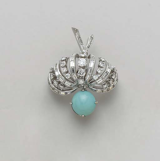 A TURQUOISE, DIAMOND AND PLATI