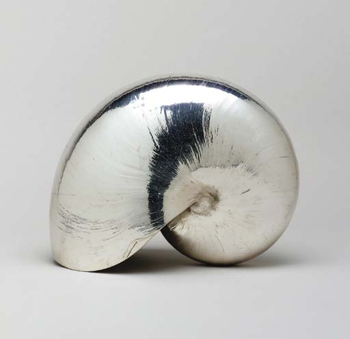 A SILVER COATED NAUTILUS SHELL