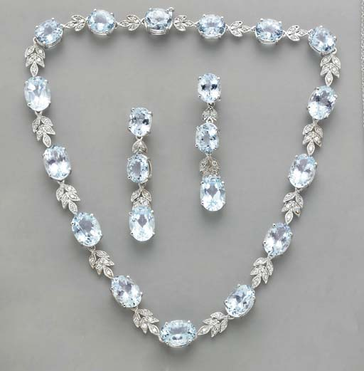 A SUITE OF AQUAMARINE, DIAMOND