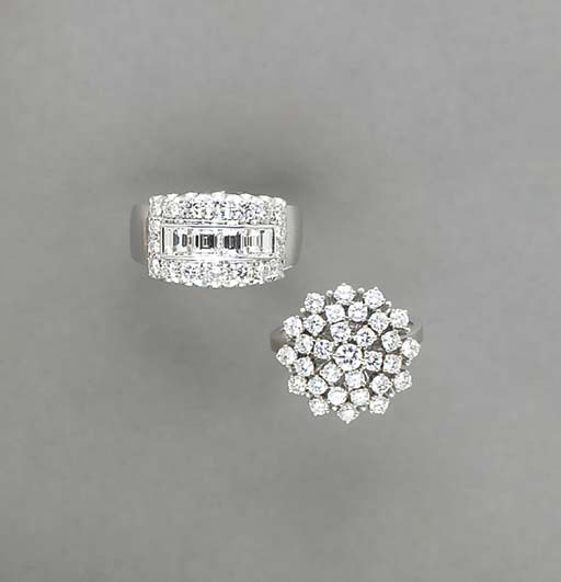 TWO DIAMOND AND 18K WHITE GOLD