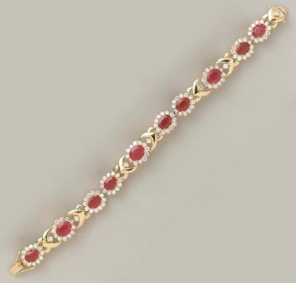 A RUBY, DIAMOND AND 14K GOLD B