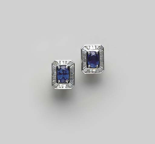 PAIR OF SAPPHIRE, DIAMOND AND