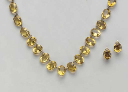 A SUITE OF CITRINE AND GOLD JE