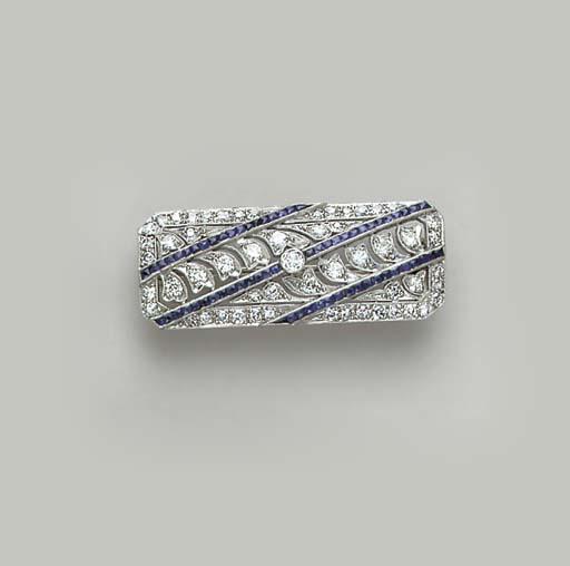AN ART DECO DIAMOND, SAPPHIRE,