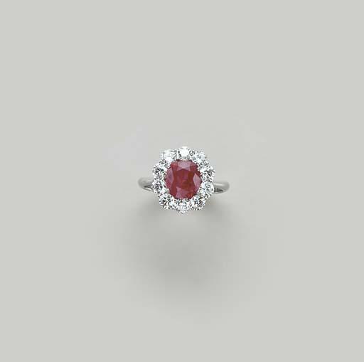A RUBY, DIAMOND AND PLATINUM