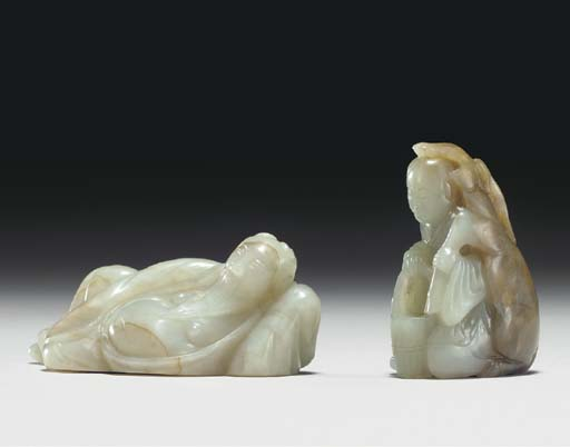 TWO SMALL JADE FIGURAL CARVING