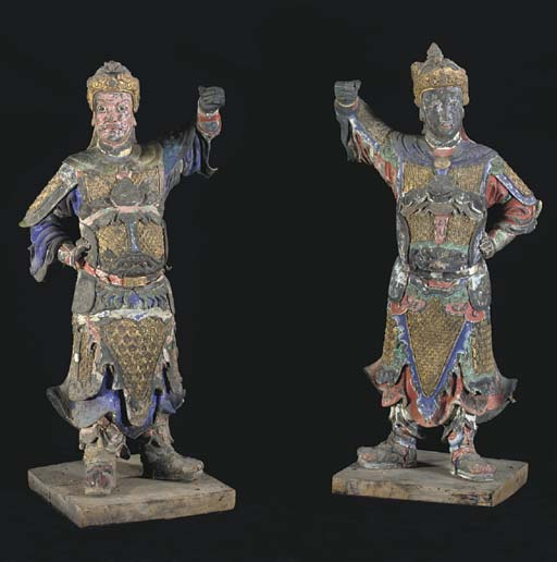 A PAIR OF LARGE PAINTED STUCCO