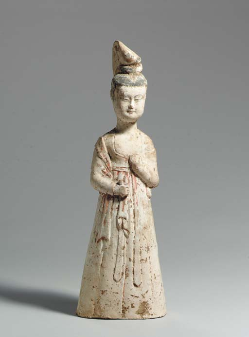 A LARGE PAINTED POTTERY FIGURE