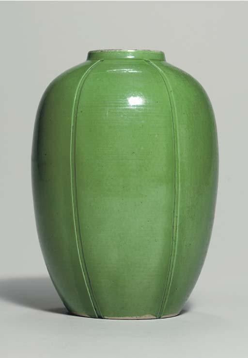 AN UNUSUAL GREEN-GLAZED MELON-