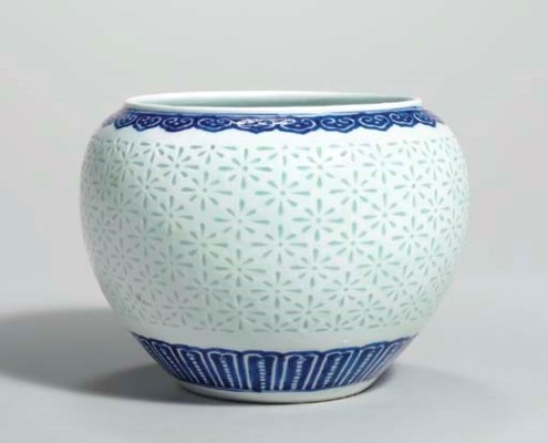 AN UNUSUAL BLUE AND WHITE RICE