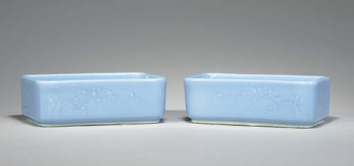 A PAIR OF LIGHT BLUE-GLAZED RE
