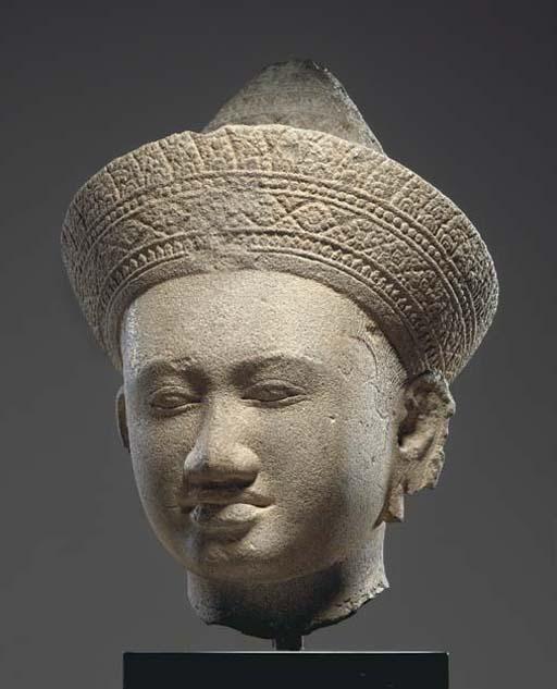 A Large Sandstone Head of a De