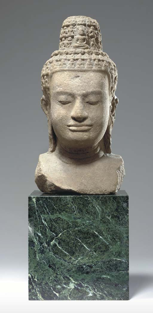 A Large Sandstone Bust of a Ra