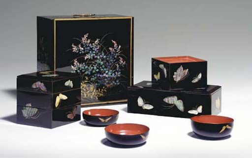 An Inlaid Lacquer Picnic Set (