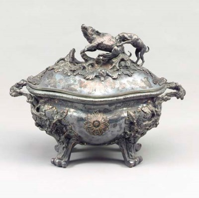 A LARGE SILVER-PLATED TUREEN A