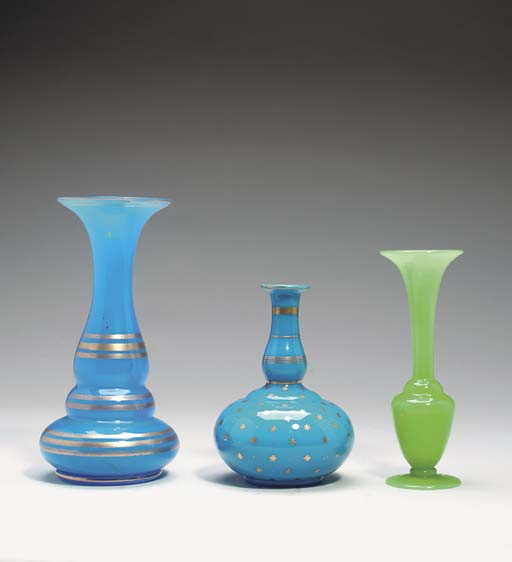 A GROUP OF OPALINE TABLE OBJEC