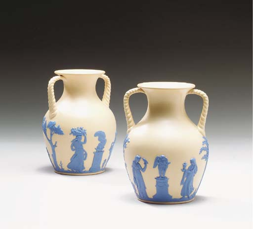 A PAIR OF WEDGWOOD CANEWARE TW