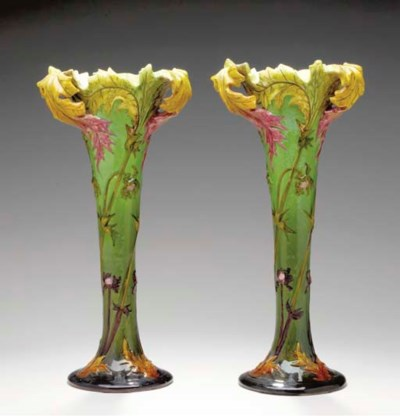 A PAIR OF FRENCH MAJOLICA FLOR
