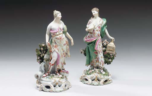 A PAIR OF DERBY FIGURES OF ELE