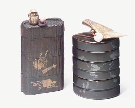 A LARGE LACQUER INRO-TYPE BOX