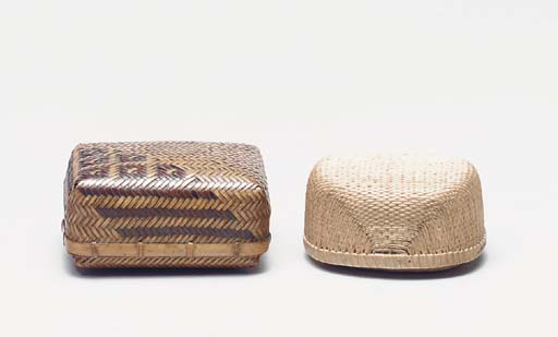 A GROUP OF FOUR BAMBOO BOXES,