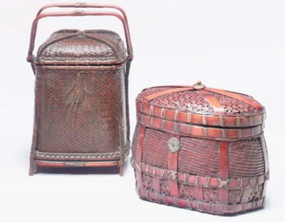 A GROUP OF THREE BAMBOO BOXES,
