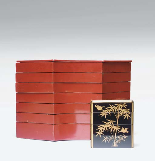 A GROUP OF TIERED LACQUER BOXE