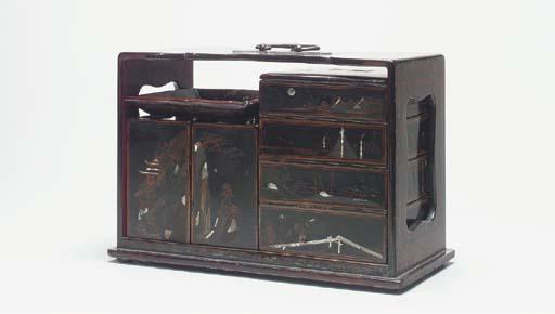 A BLACK LACQUER LUNCH BOX,