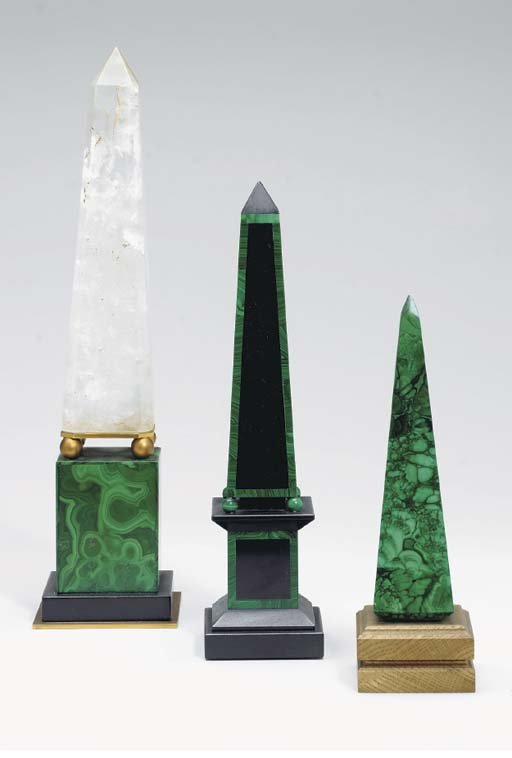 A COLLECTION OF MALACHITE OBJE