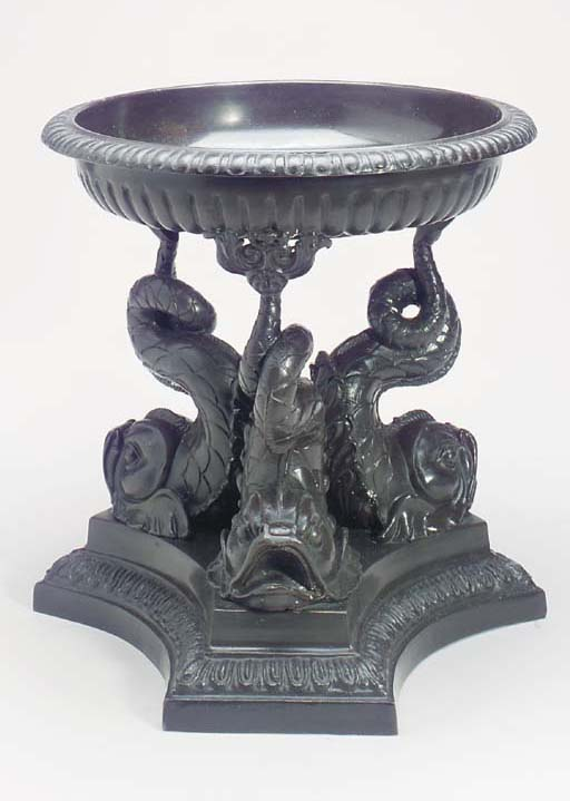 A PAIR OF BRONZE DOLPHIN TAZZA