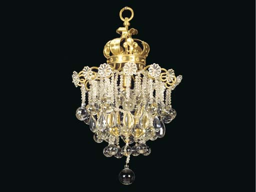 A FRENCH CUT-GLASS AND GILT-BR
