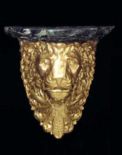 A PAIR OF GILT-BRONZE LION'S H
