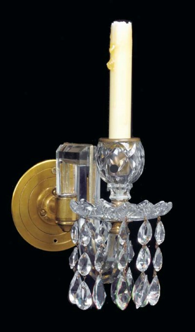 A PAIR OF CUT-GLASS ONE-LIGHT