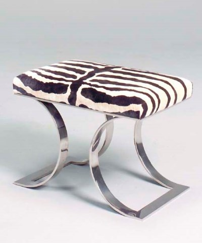 A PAIR OF CHROME STOOLS COVERE