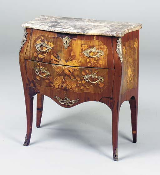 A LOUIS XV FRUITWOOD MARQUETRY