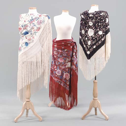 THREE SPANISH-STYLE SHAWLS