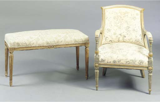 A LOUIS XVI STYLE GREY-PAINTED