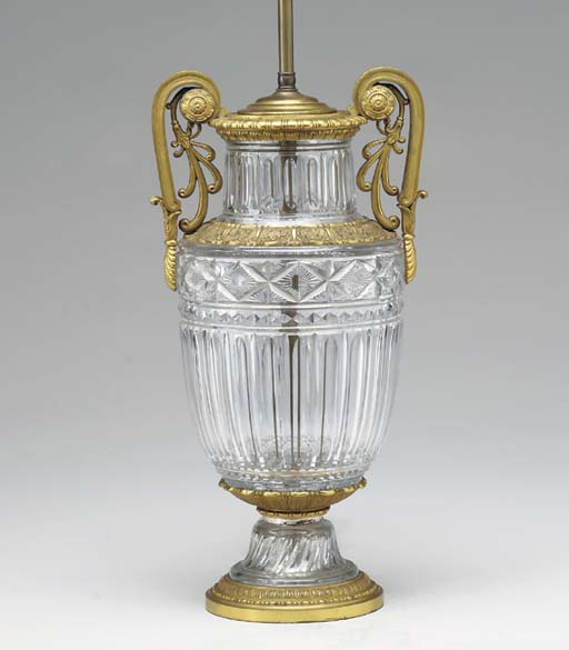 AN EMPIRE CUT-GLASS URN-FORM G