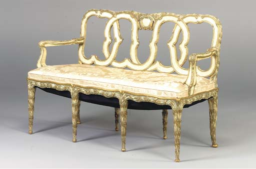 A VENETIAN STYLE CREAM-PAINTED