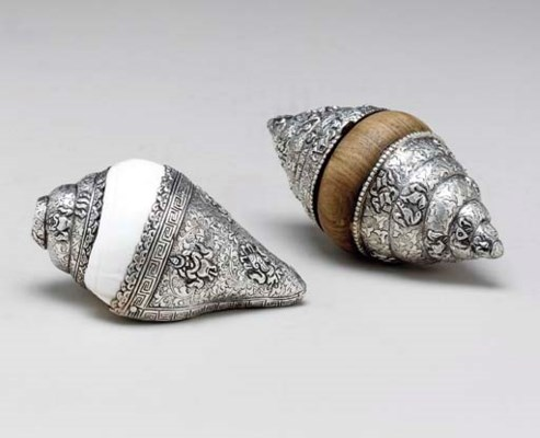 TWO SILVER-MOUNTED SHELLS,